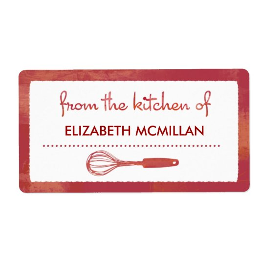 Modern Red Whisk Canning/Kitchen Labels