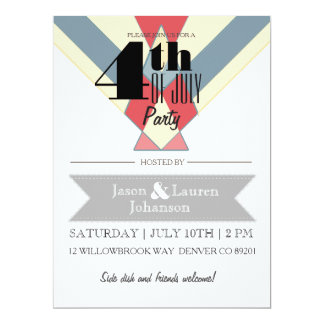 Modern Red White and Blue | 4th of July Party 17 Cm X 22 Cm Invitation Card