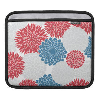 Modern Red White and Blue Flowers Pattern Sleeves For iPads