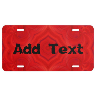 Modern red wood pattern license plate