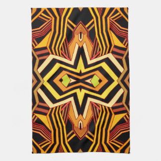 Modern Red Yellow & Black Geometric Tea Towel