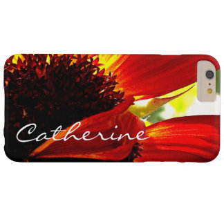 Modern red yellow daisy close-up photo custom name barely there iPhone 6 plus case