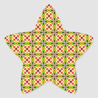 Modern Red Yellow Green Pattern Star Sticker