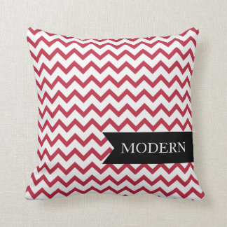 Modern Red Zigzag Pillow