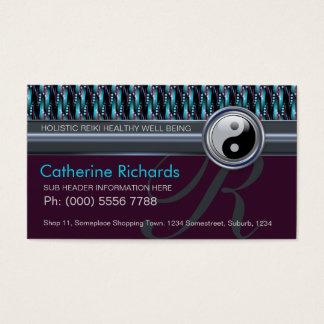 Modern Reiki YinYang Teal+Plum Sparkle Pattern Business Card