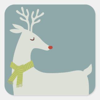 Modern Reindeer Holiday Stickers Square Sticker