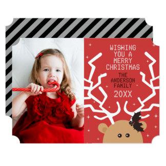 Modern Reindeer Photo Christmas Card