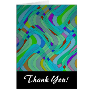 Modern Retro Abstract Design in Blues and Greens Greeting Cards