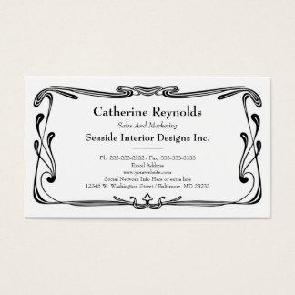 Modern Retro Art Deco Scroll Border Simple Black