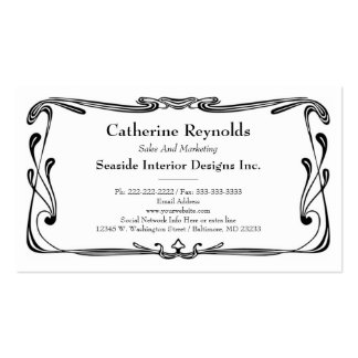 Modern Retro Art Deco Scroll Border Simple Black Pack Of Standard Business Cards