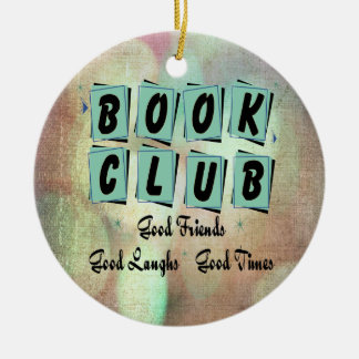 Modern Retro Book Club Group Bibliophile Ceramic Ornament
