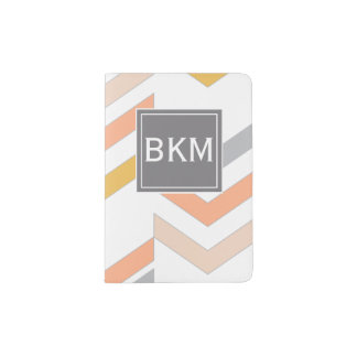 Modern Retro Chevrons Pattern, Monogram, Coral Passport Holder
