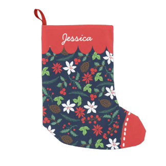 Modern Retro Chic Pattern Holidays Personalized Small Christmas Stocking