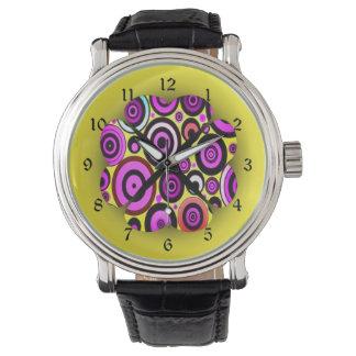 Modern Retro Circles Pattern Wrist Watches
