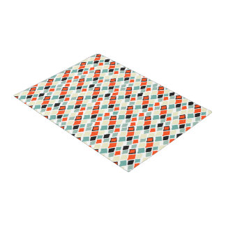 modern retro colorful diamonds geometric pattern doormat