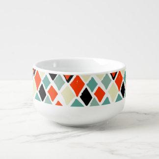 modern retro colorful diamonds geometric pattern soup mug