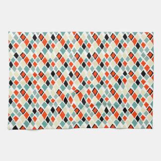 modern retro colorful diamonds geometric pattern tea towel