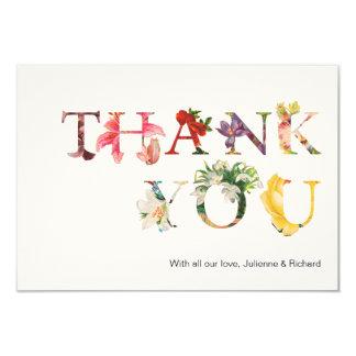 Modern Retro Colorful Floral Wedding Thank You Card