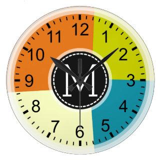 Modern Retro Colors Geometric Monogram Large Clock