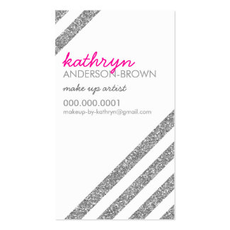 MODERN RETRO diagonal striped glitter silver pink Double-Sided Standard Business Cards (Pack Of 100)