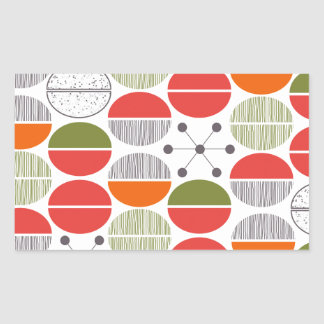 Modern Retro Geometric Polka Dots Rectangular Sticker