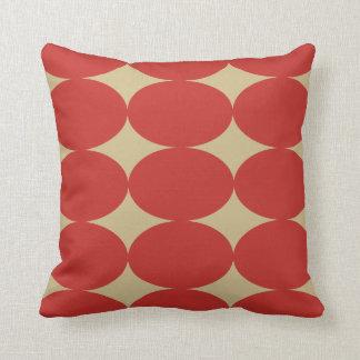 Modern Retro Red Oval Circle Pattern Throw Cushion