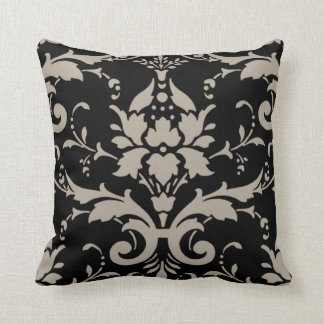 Modern Retro Silver Grey Damask on Black Pillow Throw Cushions