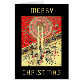 Modern retro style Christmas Candle Card