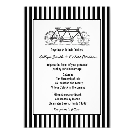 Modern Retro Tandem Bicycle Wedding Invitations Announcements