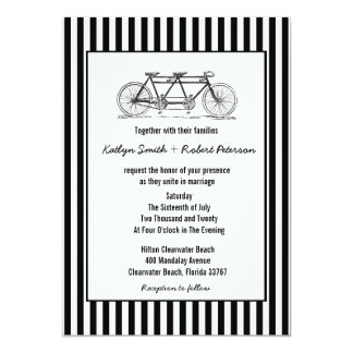 Modern Retro Tandem Bicycle Wedding Invitations