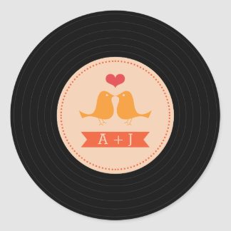 Modern Retro Vinyl Record Love Birds Blush Round Sticker