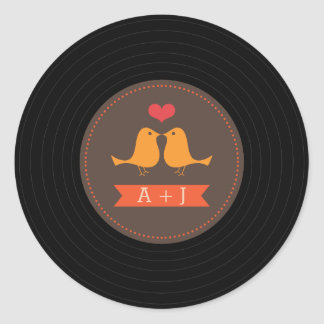 Modern Retro Vinyl Record Love Birds Brown Round Sticker