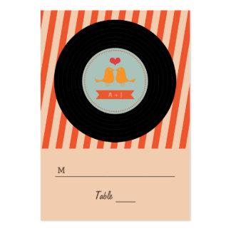Modern Retro Vinyl Record Love Birds Escort Tags Business Card