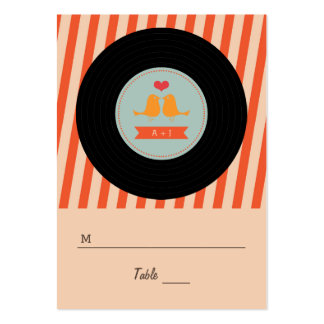 Modern Retro Vinyl Record Love Birds Escort Tags Pack Of Chubby Business Cards