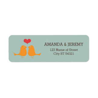 Modern Retro Vinyl Record Love Birds Wedding Return Address Label