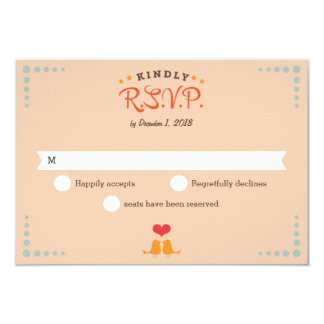 Modern Retro Vinyl Record Orange Sky Blue RSVP 9 Cm X 13 Cm Invitation Card