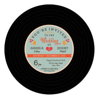 Modern Retro Vinyl Record Orange Sky Blue Wedding 13 Cm X 13 Cm Square Invitation Card