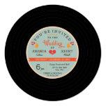 Modern Retro Vinyl Record Orange Sky Blue Wedding Personalized Announcement
