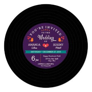 Modern Retro Vinyl Record Purple & Aqua Wedding 13 Cm X 13 Cm Square Invitation Card