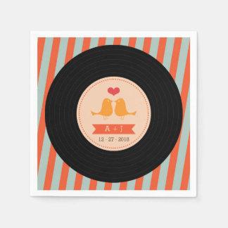 Modern Retro Vinyl Record Sky Blue Orange Wedding Disposable Napkin