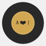 Modern Retro Vinyl Record Wedding (Gold / Black) Round Sticker
