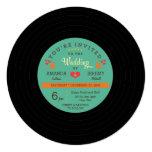 Modern Retro Vinyl Record Wedding Personalized Invitation