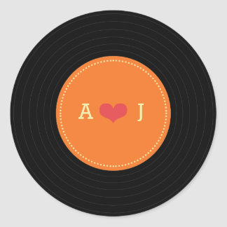 Modern Retro Vinyl Record Wedding Orange Favor Round Sticker