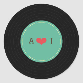 Modern Retro Vinyl Record Wedding Teal Favor Seal Round Sticker