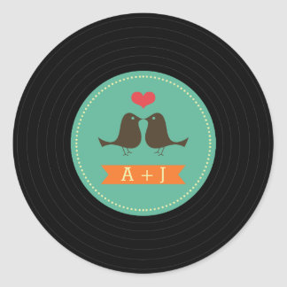 Modern Retro Vinyl Record Wedding Teal Round Sticker