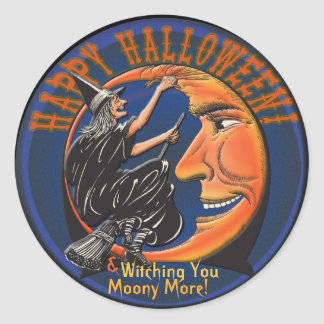 Modern Retro Witch and Moon - Personalised Puns Classic Round Sticker