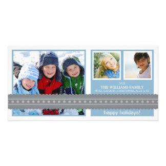 Modern Ribbon Custom Holiday Photo Card (blue)