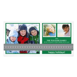 Modern Ribbon Custom Holiday Photo Card (green)