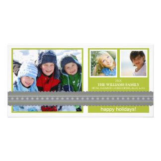 Modern Ribbon Custom Holiday Photo Card (lime)
