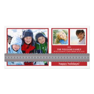 Modern Ribbon Custom Holiday Photo Card (red)